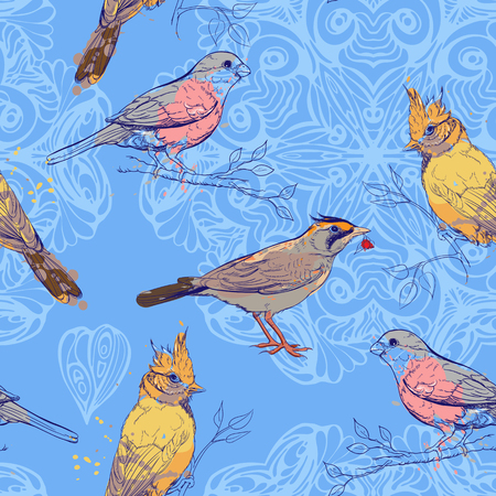 seamless pattern with birds and mandala background Vector