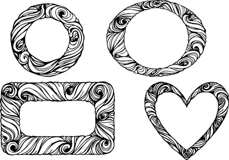 Set of frames in  round square and heart shapes Vector