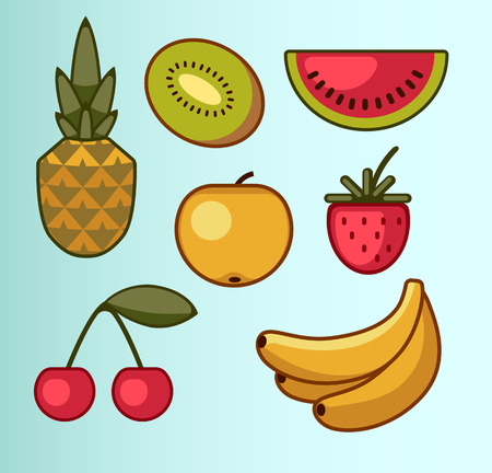 simplistic: set of summer fruits in simplistic style