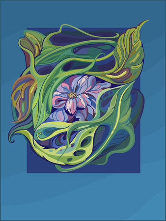 aquarel: vectorized aquarel painiting of water lily flower in art nouveau style with marine blue background with space for text Illustration