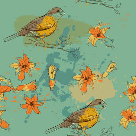 seamless pattern of bullfinch bird and hyacith flower and paint blots Vectores