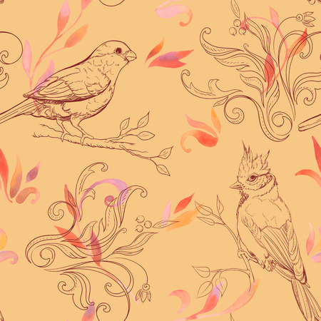 aquarel: seamless pattern with bird and handdrawn flowers