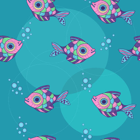 ornamental fish: seamless con pesci ornamentali e bollicine