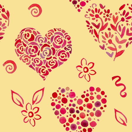 aquarel: seamless pattern with various flowers and in shape of heart Illustration