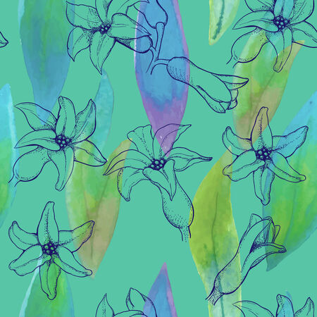 aquarell: seamless pattern of hyacinth flowers with aquarell leaves
