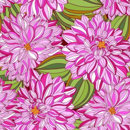 georgina: seamless pattern with decorative dahlia and leaves