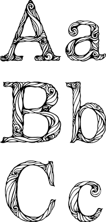 white letters: black and white letters A B C with curly pattern