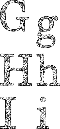 white letters: black and white letters G H I with curly pattern Illustration