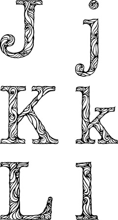 white letters: black and white letters J K L with curly pattern Illustration