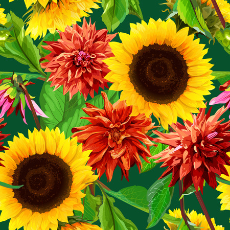 seamless pattern of sunflowers with  dahlias