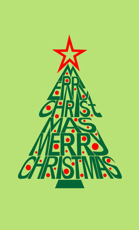letting: Merry christmas typography card with letting  shaped in christmas tree