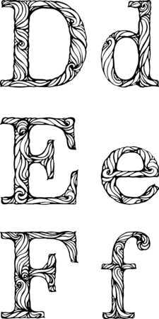 white letters: black and white letters D E F with curly pattern Illustration