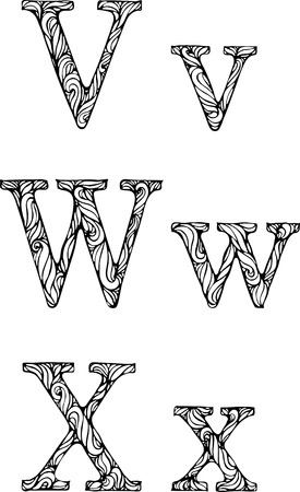 white letters: black and white letters V W X  with curly pattern Illustration