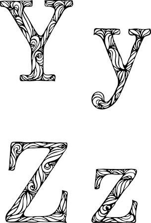 white letters: black and white letters Y Z  with curly pattern Illustration