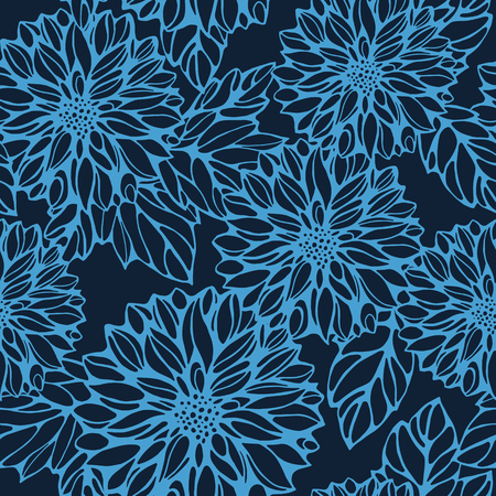 seamless monochrome pattern with dark blue dahlia and leaves