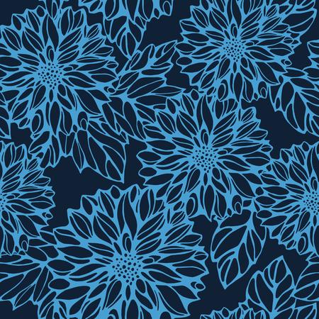 georgina: seamless monochrome pattern with dark blue dahlia and leaves