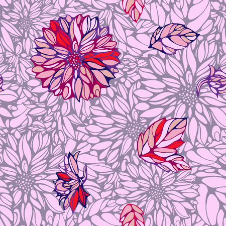 seamless pattern with pink and grey dahlia and leaves