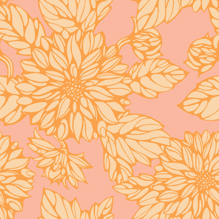 seamless pattern with pink and yellow dahlia and leaves