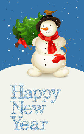 yaer: greeting card with snowman carrying a new yaer tree Illustration