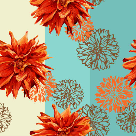 georgina: seamless colorful pattern with georgina flowers and wide vertical stripes