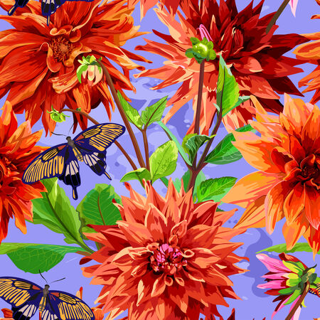 georgina: seamless colorful pattern with georgina flowers, leaves and butterflies