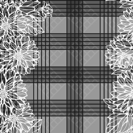 seamless monochrome pattern with dahlia flowers and check background