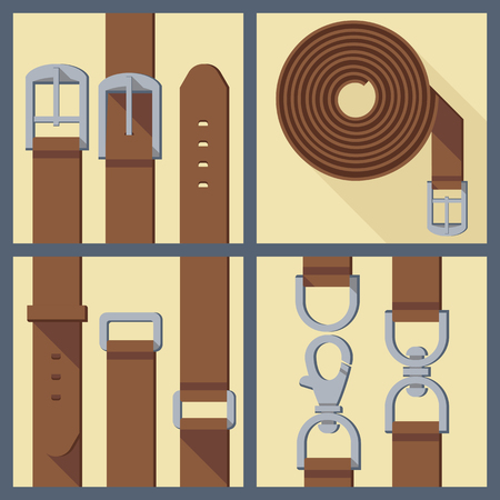 belt buckle: set of four objects of belt, buckle and carabiner in flat style