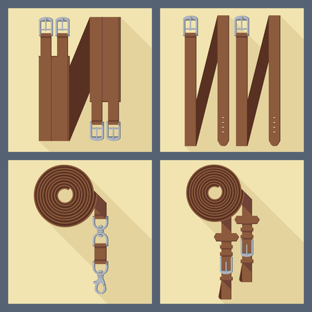 waistband: set of four objects of horse gear in flat style 3