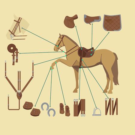 フラット スタイルで様々 なギアのインフォ グラフィックを持つ馬  イラスト・ベクター素材