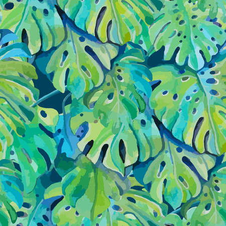 Seamless pattern 2 with leaves of monstera plant