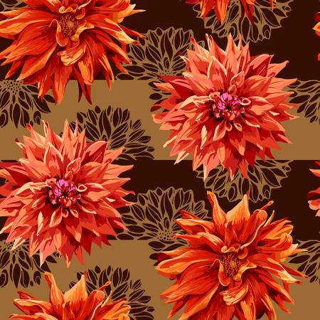 georgina: seamless pattern of georgina flowers with horizontal stripes in background