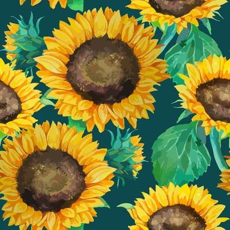 緑の葉と水彩画ひまわりのシームレス パターン  イラスト・ベクター素材