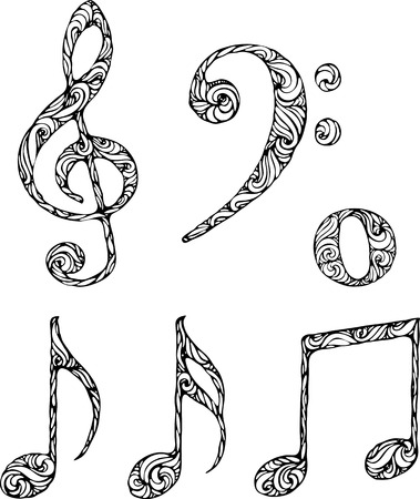 scores: set of isolated musical symbols with abstract pattern Illustration