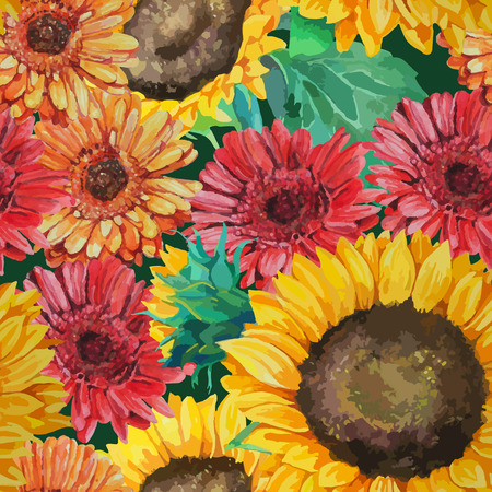 seamless pattern of sunflowers with gerbera flowers