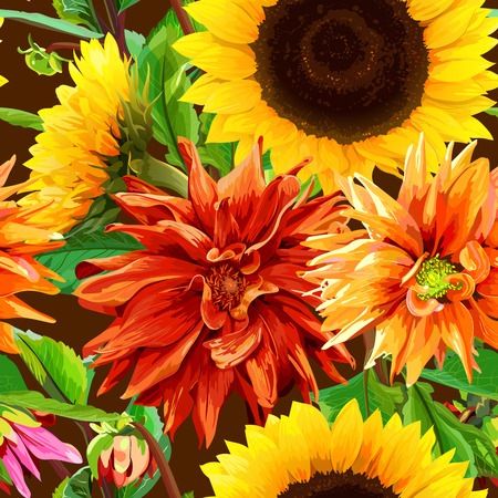 seamless pattern 2 of sunflowers with dahlias