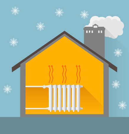 warm house: image of winter house with warm heater Illustration