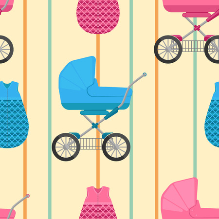 sleeping bags: seamless pattern of baby sleeping bags and buggies with vertical stripes