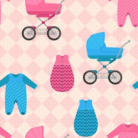 sleeping bags: seamless pattern of baby sleeping bags and buggies Illustration
