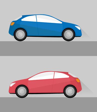 set van twee geïsoleerde auto's in vlakke stijl