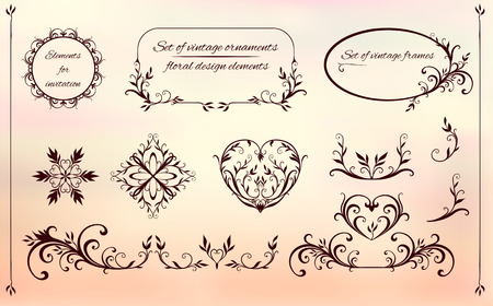 set of decorative elements of round, oval, heart shapes made in a natural style Ilustração
