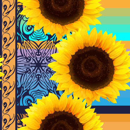 seamless pattern of sunflowers With Vertical stripes and colorful ornament element