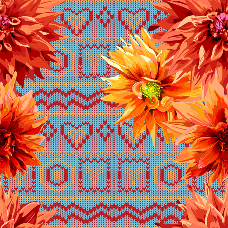 seamless pattern of dahlia flowers with a horizontal knitting pattern in background Ilustração