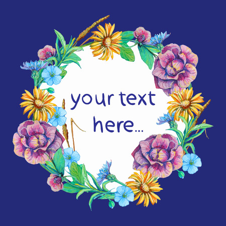 card template with place for text framed with flowers of camomile, Cichorium, forget-me-not