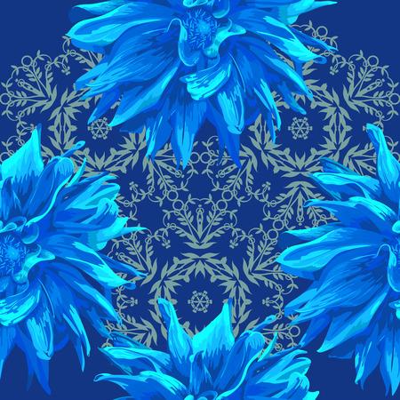 dahlia: seamless pattern elemnt of dahlia flowers and mandala-style background