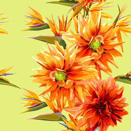 strelitzia: seamless patter of strelitzia and dahlia flowers