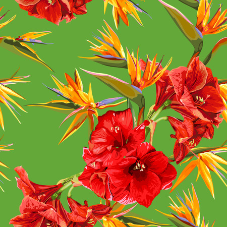 strelitzia: seamless pattern of flowers of amaryllis and strelitzia