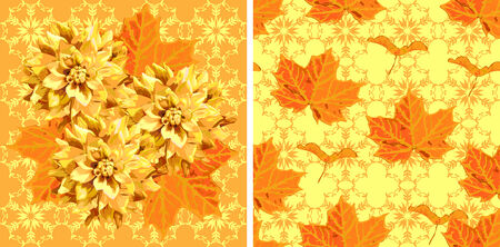 dahlia: seamless pattern of maple tree leaves and seed and dahlia flowers with madala-style background Illustration