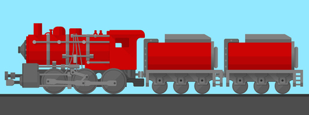 wagons: image of steam train with two wagons in flat style