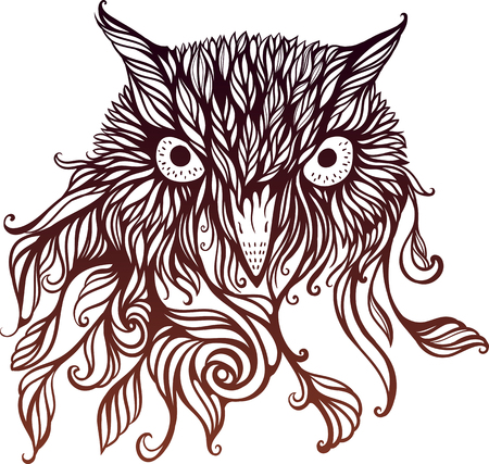 image of head of owl in graphical floral style