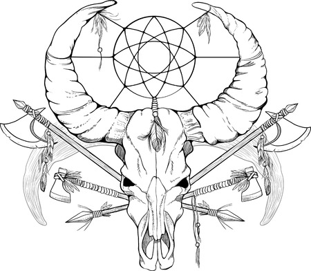 spears: image of a skull with axes and spears tattoo style black and white